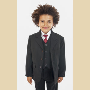 5 piece classic jacket suit in black