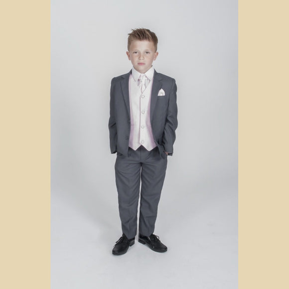 5 piece grey jacket suit with a pink diamond waistcoat