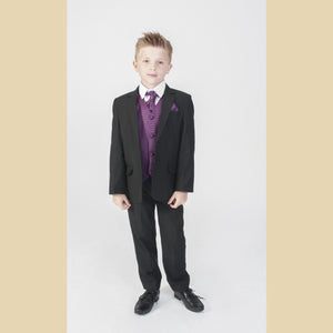 5 piece black jacket suit with a purple diamond waistcoat