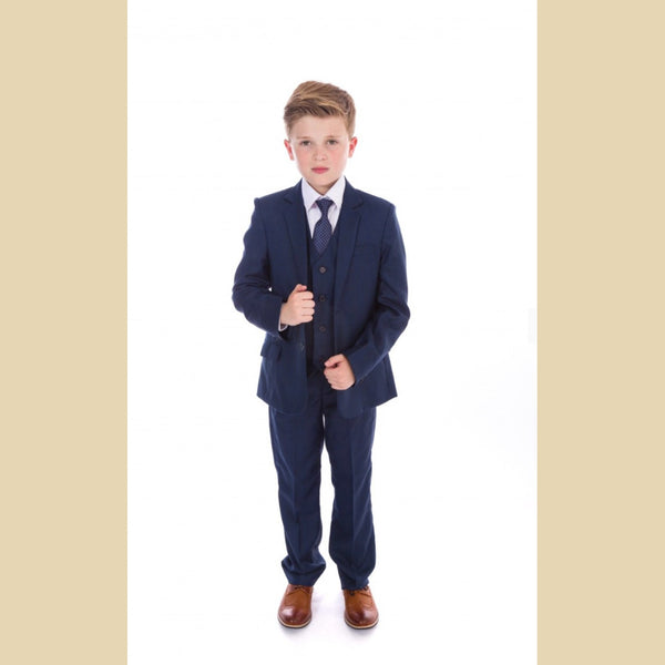 5 piece jacket suit in navy blue check