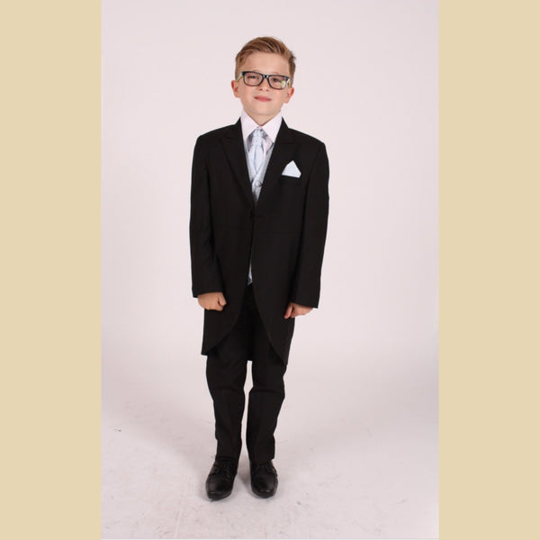 5 piece black tailcoat suit with a blue diamond waistcoat