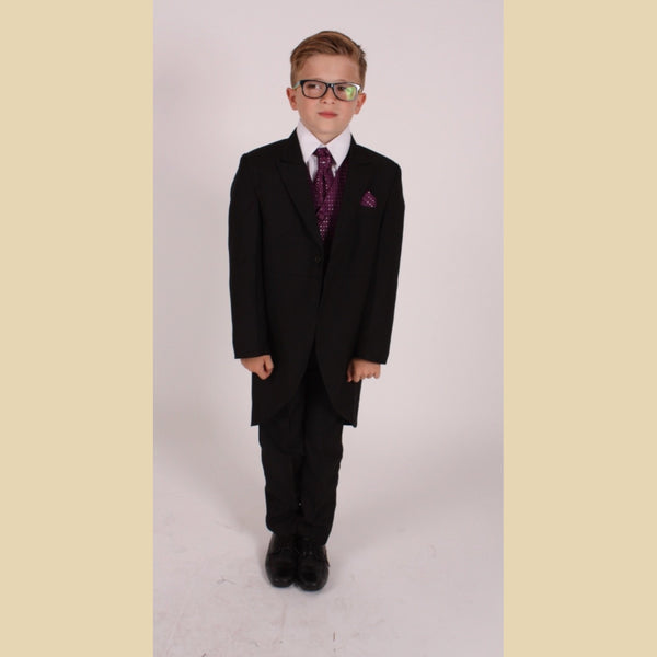 5 piece black tailcoat suit with a purple diamond waistcoat