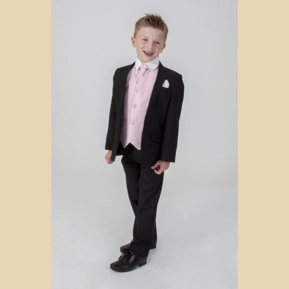 5 piece black jacket suit with a pink diamond waistcoat
