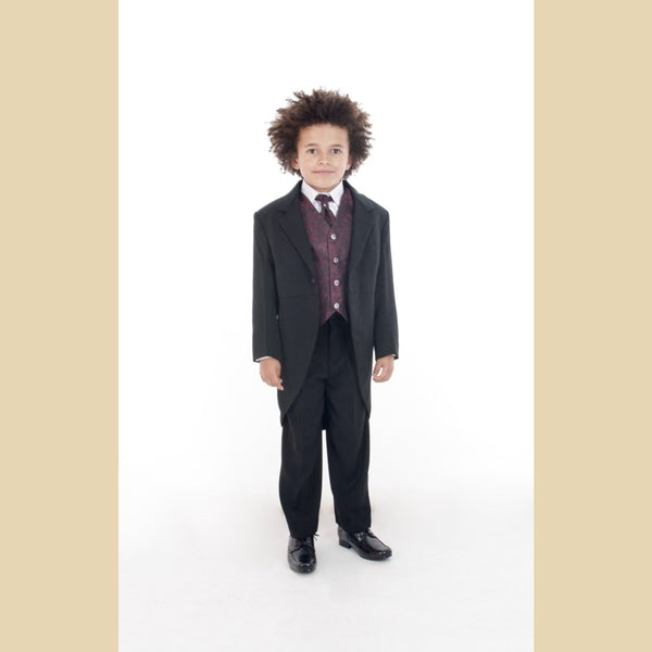 5 piece black tailcoat suit with a wine paisley waistcoat