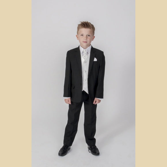 5 piece black jacket suit with an ivory diamond waistcoat