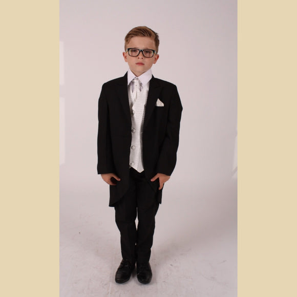5 piece black tailcoat suit with an ivory diamond waistcoat
