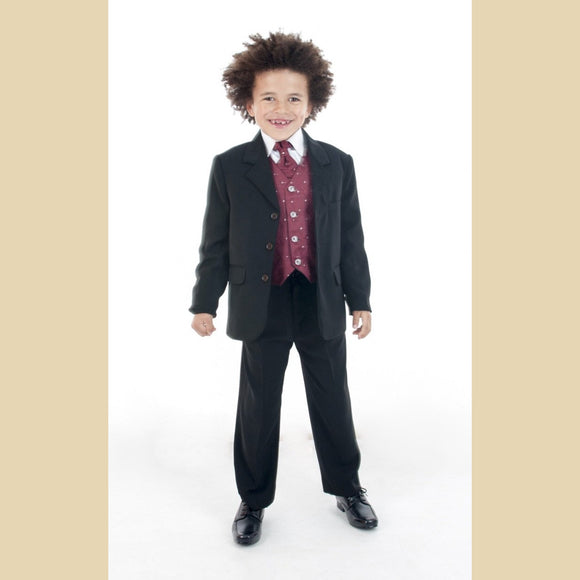 5 piece black jacket suit with a large wine diamond waistcoat