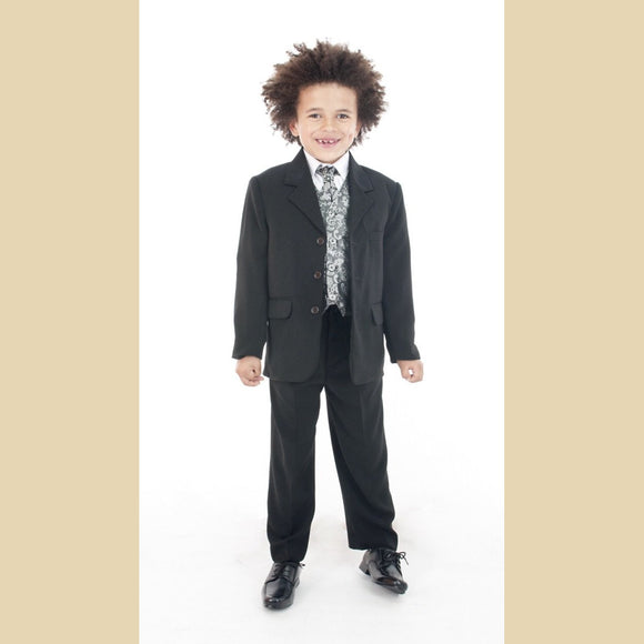 5 piece black jacket suit with a silver paisley waistcoat