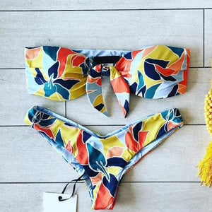 Women's Printed Backless Swimwear