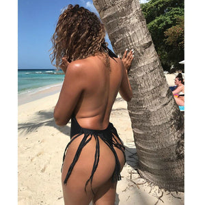 Women's Piece Of Swimsuit Bikini Tassel Backless