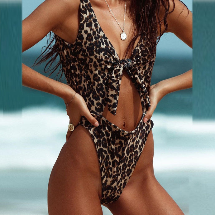 Women's Bikini Leopard One Piece Swimsuit Pushups Filled  Bra Swimwear Beachwear