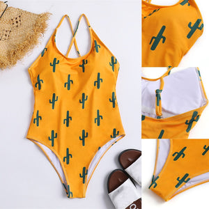 Women One-Piece Swimsuit Padded Bra
