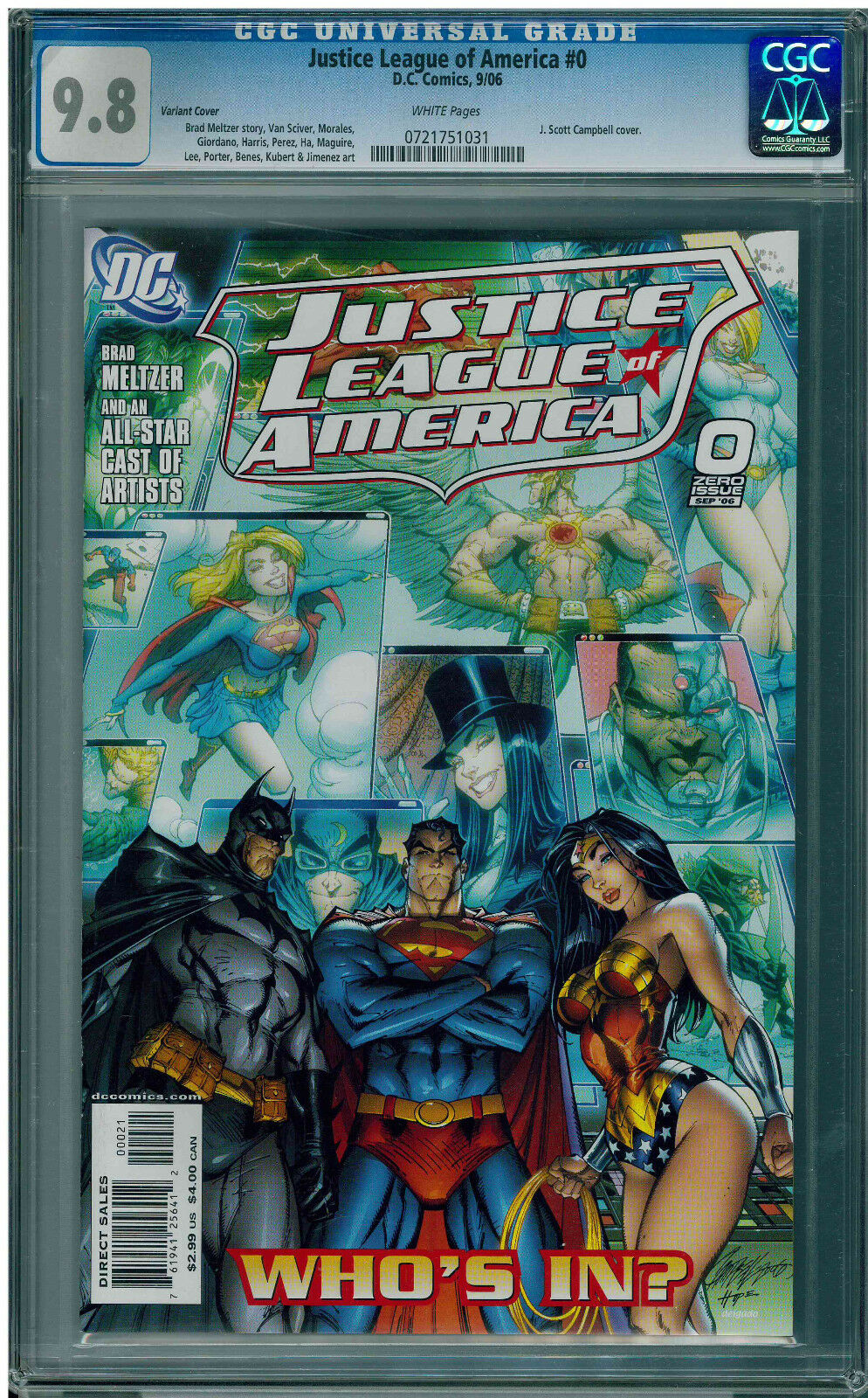 JUSTICE LEAGUE OF AMERICA #0 - J. SCOTT CAMPBELL INCENTIVE VARIANT - CGC 9.8