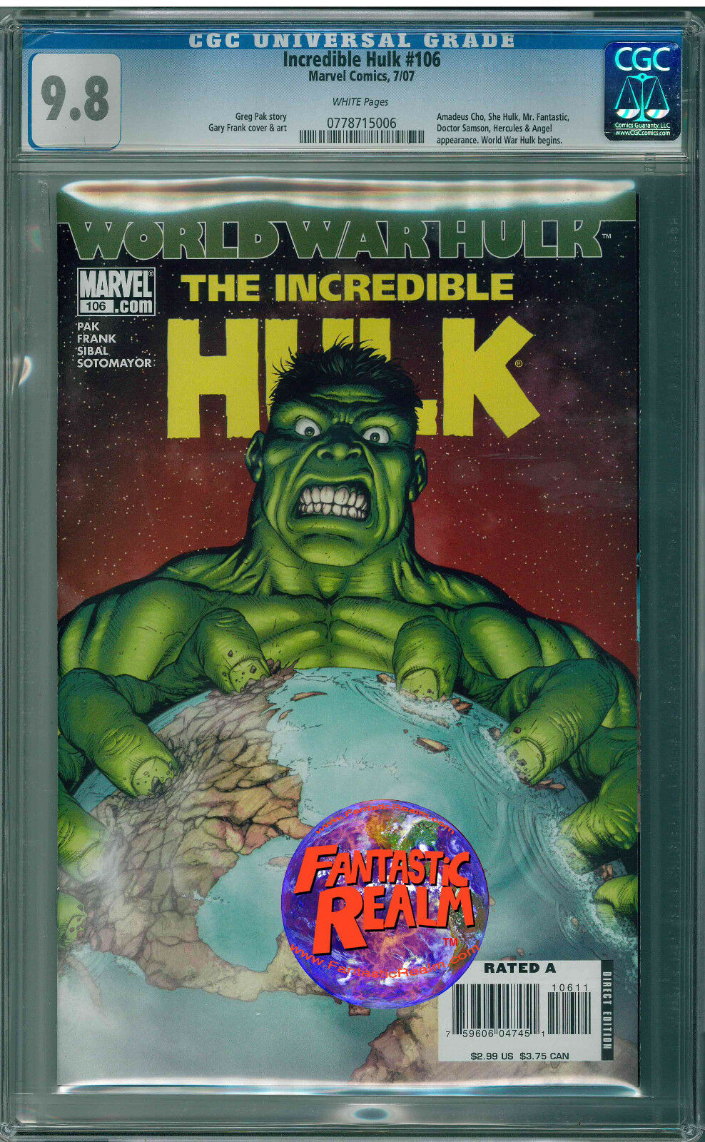 HULK #106 WORLD WAR HULK CGC 9.8 MARVEL COMICS