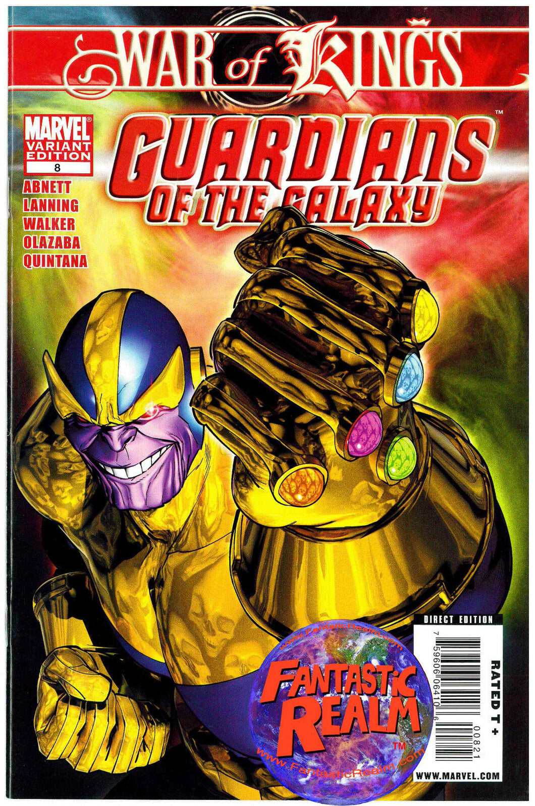 GUARDIANS OF THE GALAXY #8: WAR OF KINGS THANOS INFINITY GAUNTLET VARIANT MARVEL