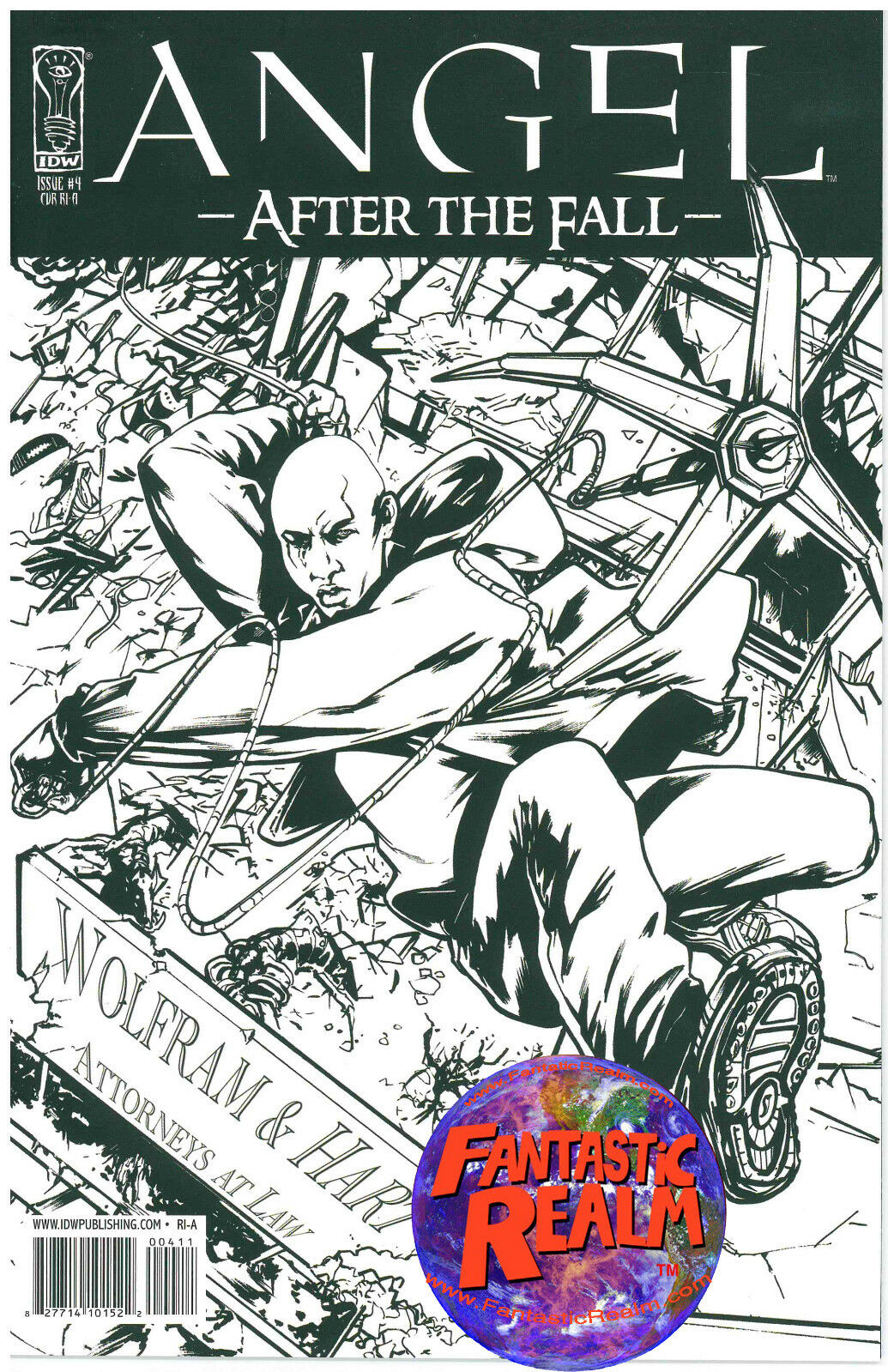 ANGEL #4: AFTER THE FALL BLACK AND WHITE VARIANT COVER (2008) IDW COMICS