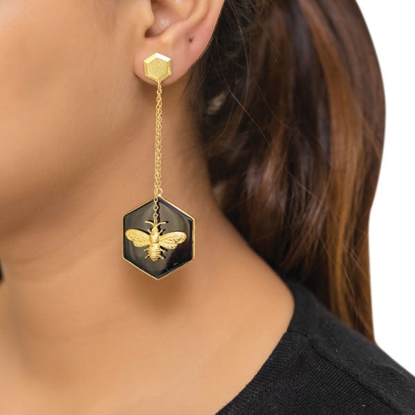 Millennium Bug Earrings-Gold