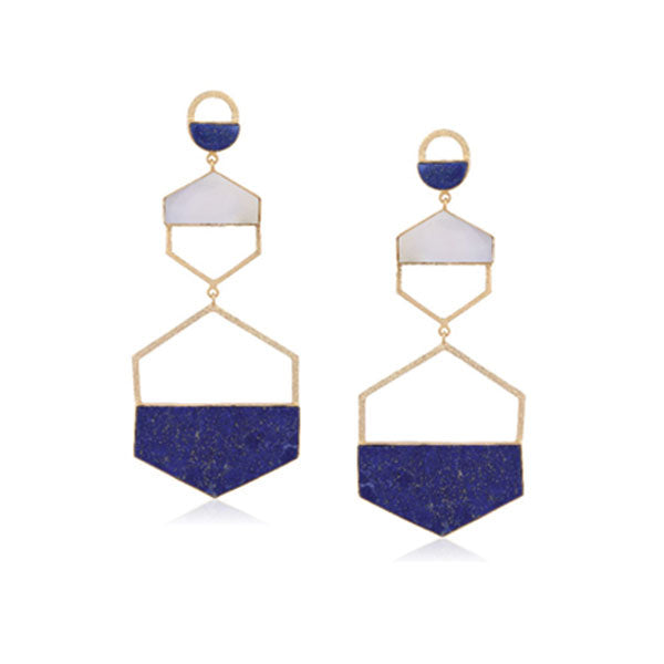 Larva Earrings- Gold & Blue