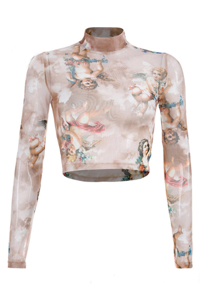 ANGELS IN THE SKY LARA CROP TOP - TAUPE