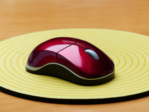 Red Mouse on Yellow Circular Soft Mouse Pad
