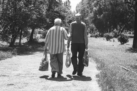 Elderly Walk Home with Groceries