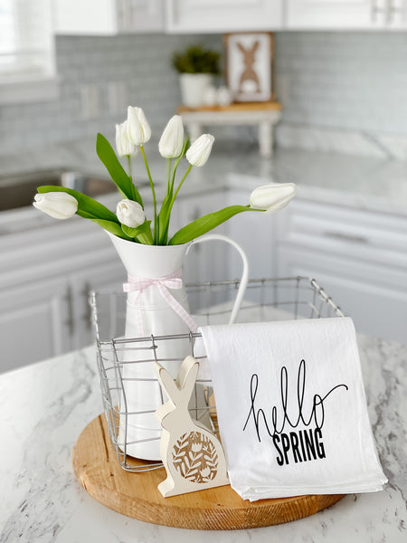 Hello Spring Black Tea Towel