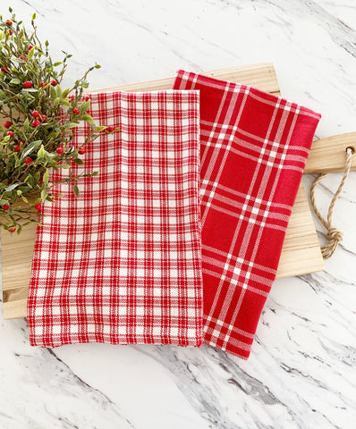 Red & Cream Plaid Tea Towel Set