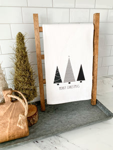 Merry Christmas With Trees Tea Towel