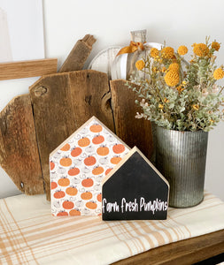 Farm Fresh Pumpkins Wooden House Set