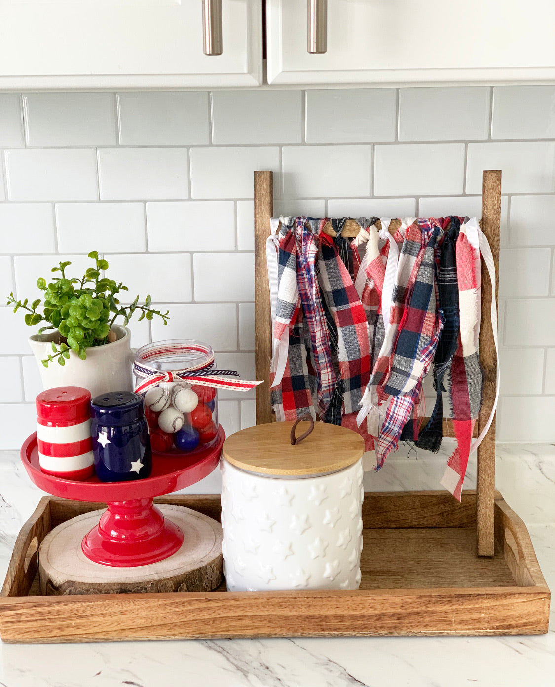 Tea Towel Ladder With Red, White and Blue Fabric