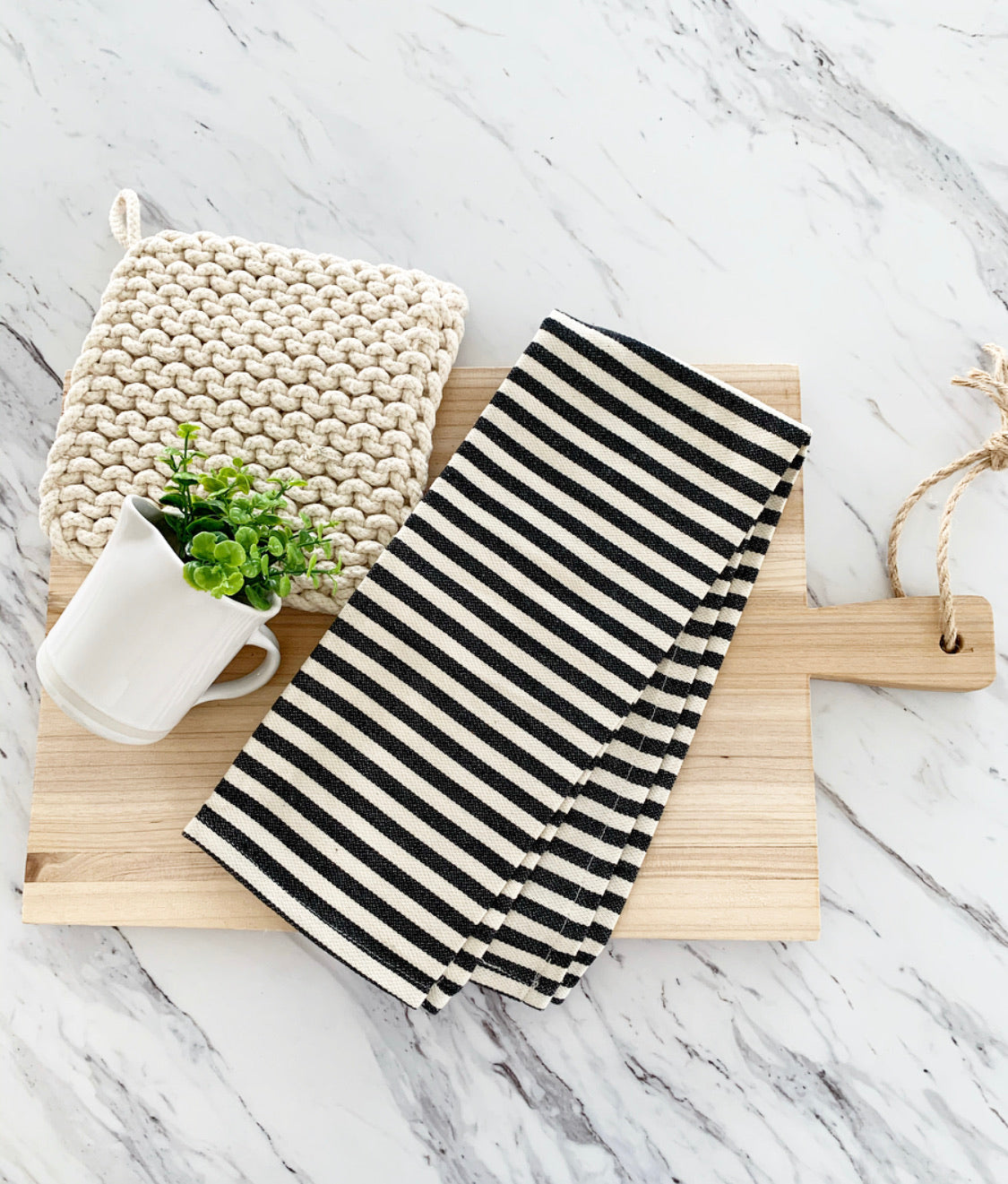 Black + Cream Striped Tea Towel