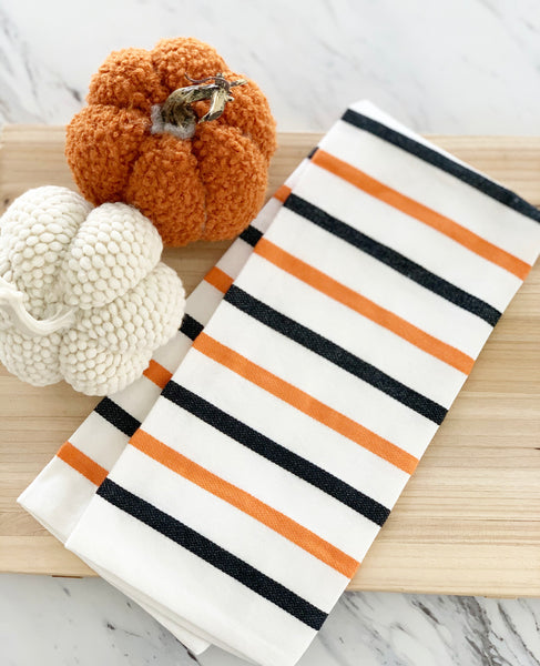 Orange & Black Striped Tea Towel