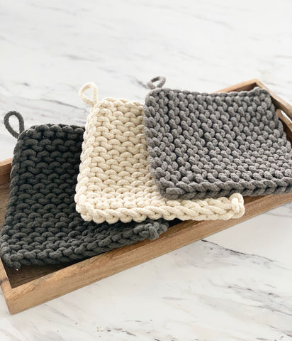 "8"" Cotton Crocheted Pot Holder, 3 Colors"