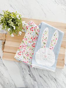 Bunny + Spring Flower Tea Towel Set Of Two