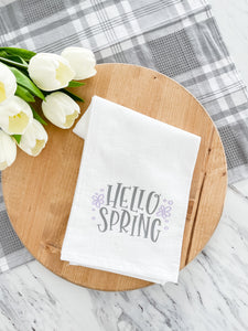 Hello Spring Tea Towel With Purple Flowers