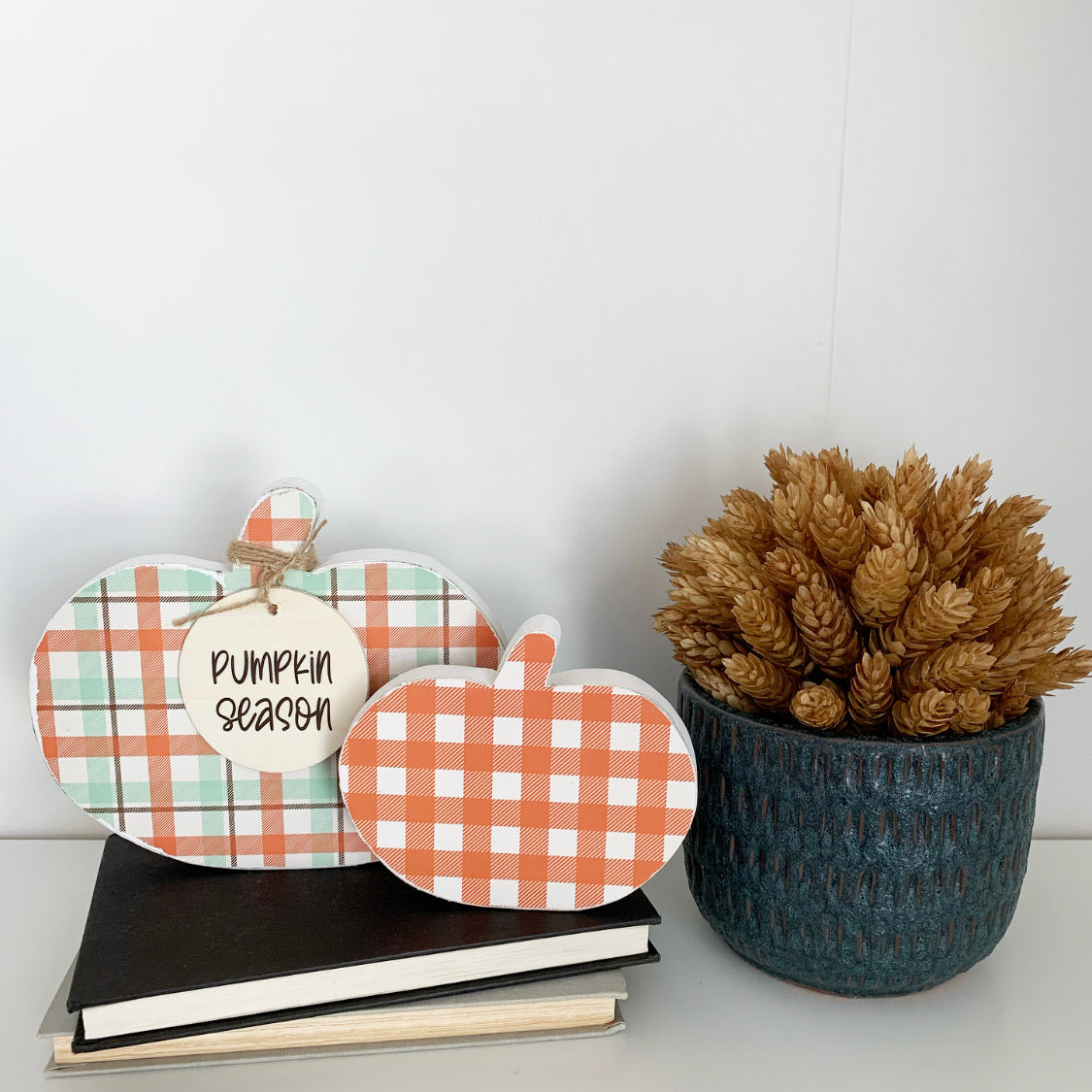 Wooden Pumpkins Set of Two - Plaid