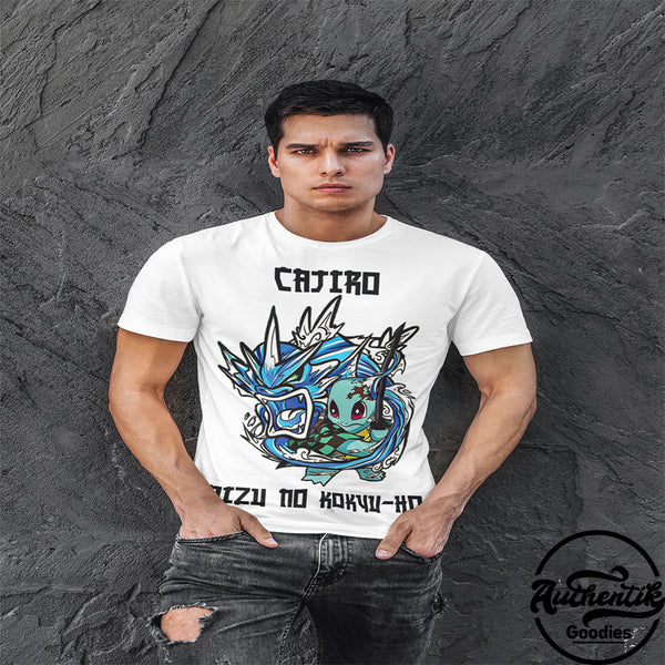 T-shirt Blanc Homme Cajiro (Pokemon x Demon Slayer)