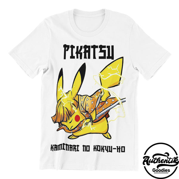 T-shirt Blanc Pikatsu (Pokemon x Demon Slayer)