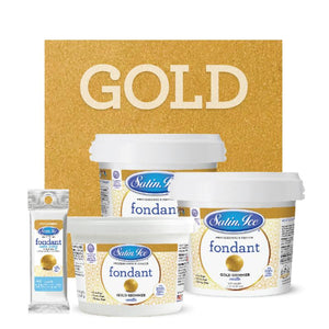 Satin Ice Gold Shimmer Fondant — 4oz, 2lb, 5lb Satin Ice Fondant - Bake Supply Plus
