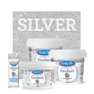 Satin Ice Silver Shimmer Fondant — 4oz, 2lb, 5lb Satin Ice Fondant - Bake Supply Plus