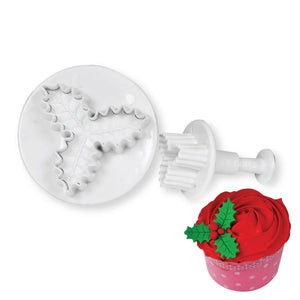 Holly Leaf Plunger Cutter - 3 in 1 NY Cake Fondant Cutter - Bake Supply Plus