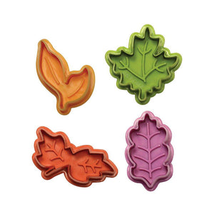 Leaves Plunger Cutter - Set of 4 NY Cake Fondant Cutter - Bake Supply Plus