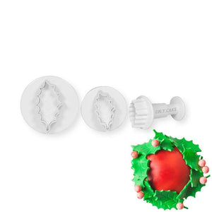 Holly Leaf Plunger Cutter Set - Small NY Cake Fondant Cutter - Bake Supply Plus