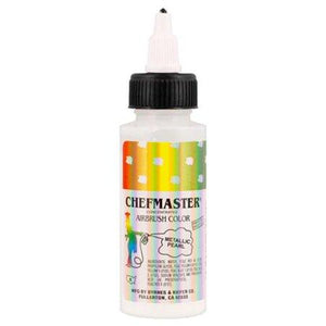 Chefmaster Metallic Airbrush 2oz — Gold, Silver, & Pearl Colors Chefmaster Airbrush Color - Bake Supply Plus