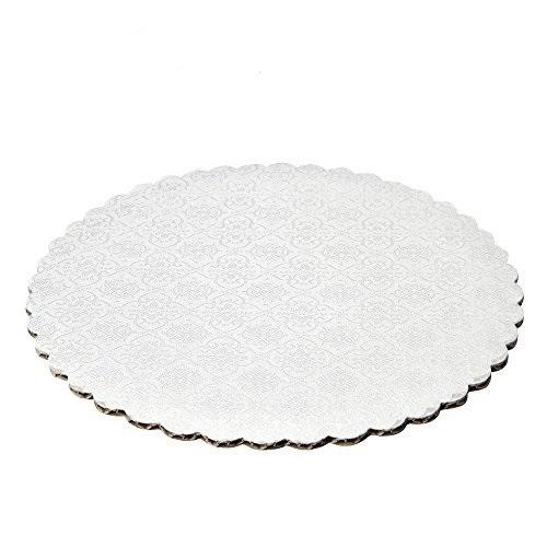 White Scalloped Circle Cake Boards — All Sizes