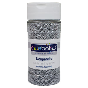 CK Nonpareils Shimmering Silver 3.8oz CK Products Sprinkles - Bake Supply Plus