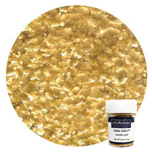 CK Edible Glitter Metallic Gold Flakes 1/4 oz