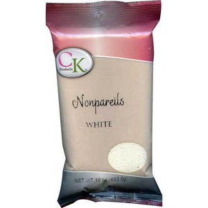 CK Nonpareils White 3.8 oz/16 oz CK Products Sprinkles - Bake Supply Plus