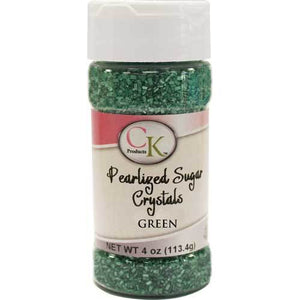 CK Pearlized Green Sugar Crystals 4 oz CK Products Sprinkles - Bake Supply Plus