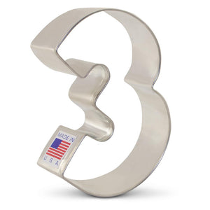 Number 3 Cookie Cutter Ann Clark Cookie Cutter - Bake Supply Plus